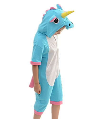 Kenmont Jumpsuit Tier Cartoon Einhorn Pyjama Overall Kostüm Sleepsuit Halloween Cosplay Animal Sleepwear für Kinder Baby (90-105cm, Summer Blue) (90's Cartoon Kostüme)