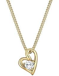 Elli Premium Damen-Kette mit Anhänger Herz 585 Gelbgold Zirkonia Rundschliff 45 cm 0108980516_45