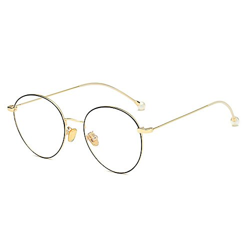Yiph-Sunglass Sonnenbrillen Mode Zarte einfache Perle Gläser für Frauen Klassische Damenbrillen für Studenten dünne Metallrahmen umrandeten Gläser (Farbe : Gold)