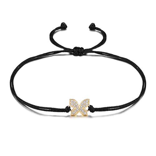 WISTIC Armband Frauen Schmetterling Symbol Liebe Schönheit, Schwarzes Textil Band, Handmade Zirkonia Armkette Damen Größenverstellbar Nickelfrei (Schmetterling Armband Gold)