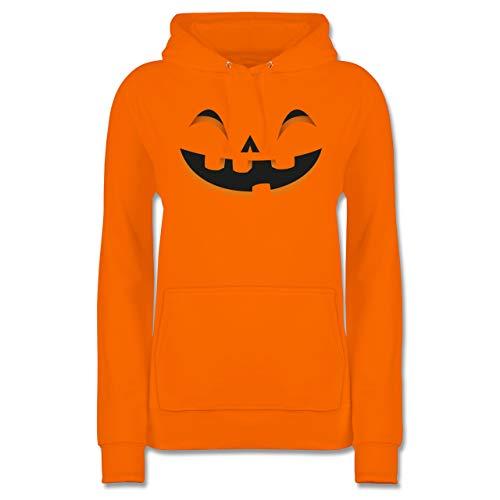 (Shirtracer Halloween - Kürbisgesicht Kostüm - M - Orange - JH001F - Damen Hoodie)