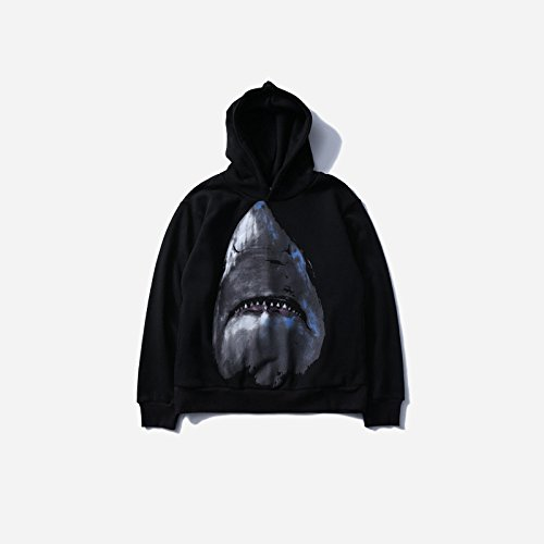 TANG Hoodies Europäische Digitaldruck Lose Pullover Pullover Hip Hop Shark Schwarz Xxl (Platten-jugend-t-shirt)