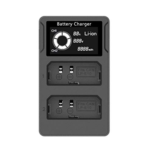 Hahuha  LCD Display USB Kamera Akku Dual Ladegerät für Canon LP-E10 EOS 1100D 1200D