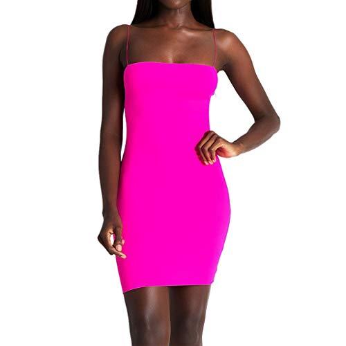 Fenverk Damen FrüHling Sommer Minikleid Elegant Club Abendkleider Party Mode Kurz Cocktailkleid äRmellos Eng Weste Kleid TräGerkleid Stretch Tank Top Slim Fit Bleistiftkleid(Hot Pink,L)