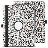 ULAK 360 Rotating Stand Case Smart Cover Synthetic Leather Auto Wake/Sleep Function for Samsung Galaxy Tab 3 10.1 (10.1 inch) 2013 Release Colorful Leopard