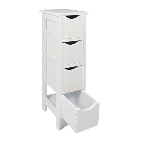 Woodluv Slimline MDF 4-Drawer Bathroom Storage ...  sc 1 st  Search Furniture & Woodluv Slimline MDF 4-Drawer Bathroom Storage Unit 19 x 25 x 65.5 ...
