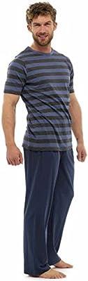 Pijama para hombre con camiseta de rayas y pantalones largos
