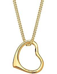 Elli Damen-Halskette mit Anhänger Herz Liebe Klassisch Hochwertig 585 gelbgold