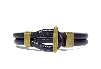 Bracelet Homme Fait a la Main avec Double Cordon en Cuir Noir et Fermeture Nautique en Couleur Bronze