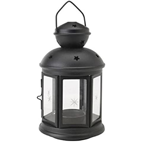 IKEA ROTERA farol para vela (negro), apto para uso en interiores y al aire libre