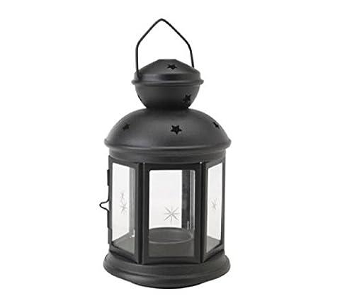 IKEA ROTERA Lanterne pour bougie chauffe-plat (Noire), convient pour l'intérieur et extérieur