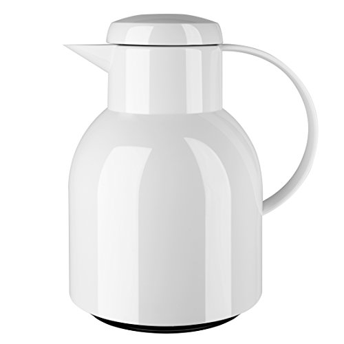 Emsa 504229 Isolierkanne, 1 Liter, Quick Press Verschluss, 100% dicht, Weiß, Samba