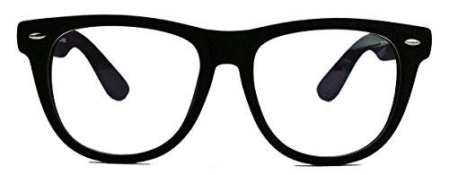 Geek Style XL ! oversized Fashion Brille Nerdbrille Streberbrille Klarglas 153 (Matt Schwarz) (Rock Brille)