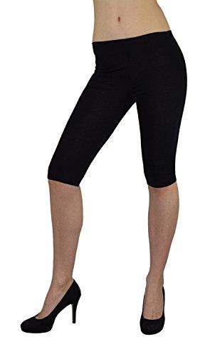 S&LU super Damen Capri-Leggings 3/4-Leggings in vielen tollen Farben Größe XXS - M (XXS - M, Schwarz)