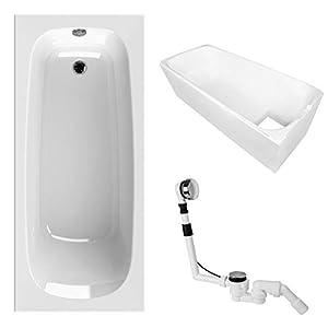 AquaSu Acryl-Badewanne , Set , Badewanne, Wannenträger und Excenter Ab- und Überlaufgarnitur , 170 x 75 cm , Weiß