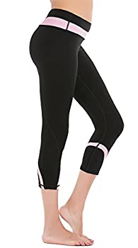 Deeptwist Womens Yoga Pants Running Capri Leggings Power Flex Workout Tights With Back Zipper Pocket Pink, Uk-dt4004-pink-12 1
