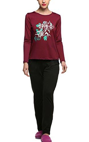 CRAVOG Winter Schlafanzug Damen Pyjama mit Aufdruck Verdicken Nachtwäsche Set Langarm Nachthemd & Nachthose Lang Warm Sleepwear