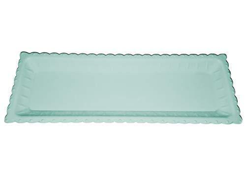 Cleanprince Dekotablett Rectangulaire 39 X 13,5 X 3 cm Vert Émeraude Forme Étroite Vert Tablette Bois Plateau Carré Soucoupe Décorative Bol Rectangle Shabby Chic