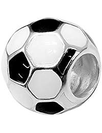 Abalorio de plata de ley 925 con diseño de balón de fútbol, ...