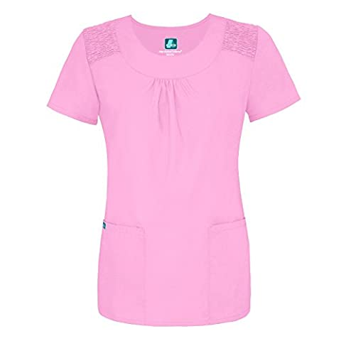 Adar Medical Women's Scoop Neck Smocked Solid Scrub Top (Available in 15 colors) - 627 - Sherbet -