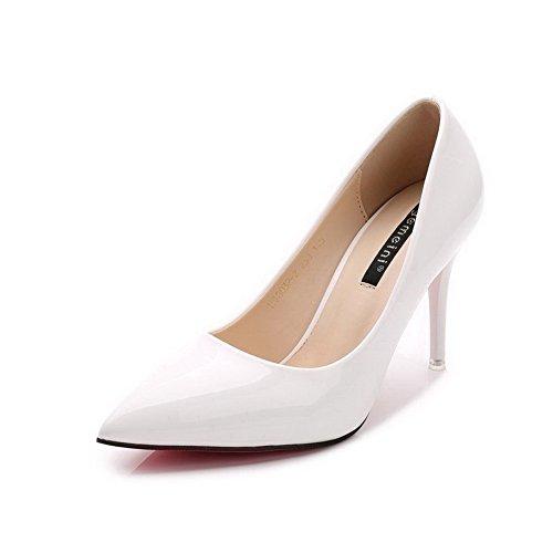 AalarDom Femme Matière Souple à Talon Haut Pointu Tire Chaussures Légeres Blanc-Verni