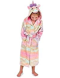 Koo-T Albornoz con Capucha para niñas, diseño de Unicornio, Ideal