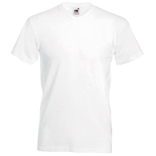 Fruit of the Loom 10 T Shirts V-Neck M L XL XXL V-Ausschnitt Diverse Farben auswählbar (2XL, Weiß)