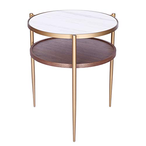 FENGFAN Table Ronde en métal, Table d'appoint Moderne en métal de Rivet, Support de Rangement à 2 Couches, Table Basse, Blanc/Laiton/Noyer, 46 * 54CM FF