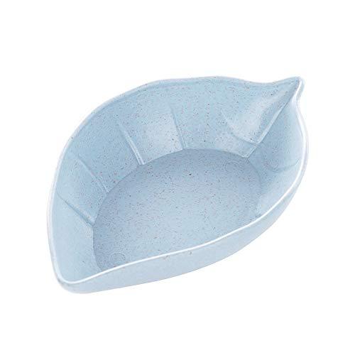 WARMTOWE Mini-Gewürzschale mit Weizenstrohhalm, solide, würzige Soßenschale, Gewürzschale, Salz, Snack, Kleiner Teller blau blau Leaf