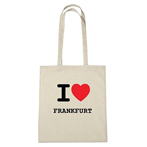 JOllify Frankfurt Borsa di cotone B296 schwarz: New York, London, Paris, Tokyo natur: I love - Ich liebe