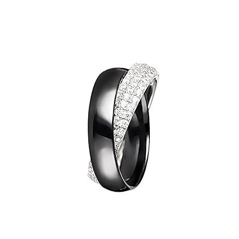 Mes-bijoux.fr - Bague Femme en Céramique Noire et Argent 925/1000 - 7BY446BAgv_56