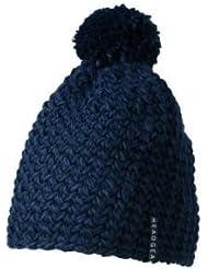 Myrtle Beach Häkel-Mütze mit Bommel einfarbig, Farbe:navy
