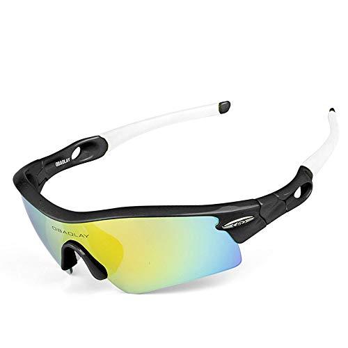 Sport-Sonnenbrille Radfahren laufbrille polarisierte sport sonnenbrille superlight frame design für männer und frauen 5 austauschbare linsen 5 farben Fahrradzubehör ( Color : Black Frame White Arm )