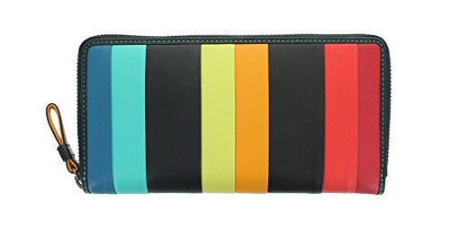 Visconti Santorini-Kollektion CORFU Geldbörse Geldbeutel Leder, mit RFID-Schutz STR5 Schwarz Multi -