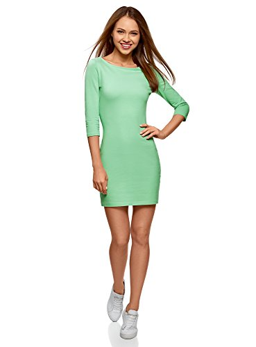 oodji Ultra Damen Jersey-Kleid Basic, Grün, DE 40 / EU 42 / L - Mint Grün-kleid Für Frauen