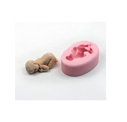 AKORD Schlafendes Baby Form, Silikon, Pink, 7x 5x 3cm