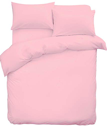 (King, Pink) - Poly Cotton Duvet Set with 2 Pillowcases By Sasa Craze Bedding (King, Pink) -