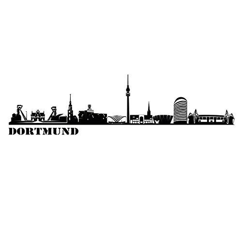 Wandkings Skyline - Deine Stadt wählbar - Dortmund - 125 x 27 cm - Wandaufkleber Wandsticker...
