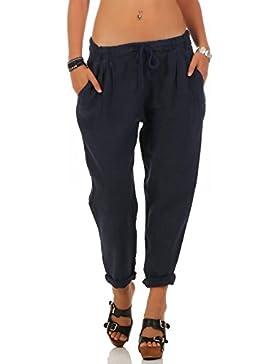 malito Ocio Pantalones de Lino con Cintura Elástica 6816 Mujer (L, azul oscuro)