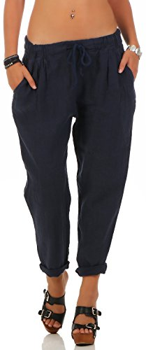 Damen Leinen (Malito Damen Hose aus Leinen | Stoffhose in Unifarben | Freizeithose für den Strand | Chino - Jogginghose 6816 (dunkelblau, S))