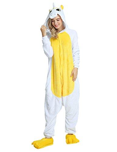 Einhorn Kostüm Karton Tierkostüme Halloween Kostüme Jumpsuit Erwachsene Schlafanzug Unisex Cosplay- Gr, M(Höhe152-165CM), Gelb Einhorn (- Gelb Jumpsuit Kostüm)