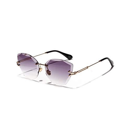 WULE-RYP Polarisierte Sonnenbrille mit UV-Schutz Womens Cat Eye Vintage Diamond Cut zarte Sonnenbrille, Keine Grenze. Superleichtes Rahmen-Fischen, das Golf fährt (Farbe : Grau)