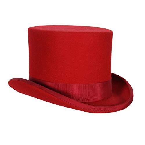Thetru Kostüm Zubehör Zylinder Hut 14cm rot Karneval Fasching Gr.57 (Rote Kostüme Zubehör)