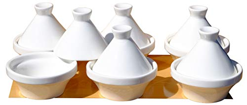 Gifts Of The Orient GOTO - 6 petits plats tajines blancs de 7 cm - En céramique