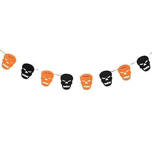 HJKGSVdv Halloween Party Spinne Schädel Ghost Bat Kürbis Girlande Muster Halloween Dekor Prop Sawtooth - Candy Skulls Kostüm