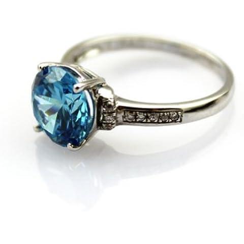 Jade Angel Anello Sterling D'argento con 9mm Rotonda Zirconia Cubico Blu