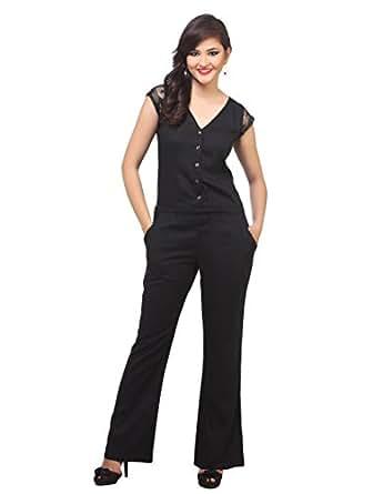 Cottinfab Women's Poly Crepe Full Length Jumpsuit (Black, Small)