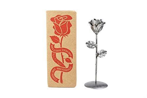 Rosa Eterna fatta di Ferro Battuto con piedistallo - Forgiata a Mano