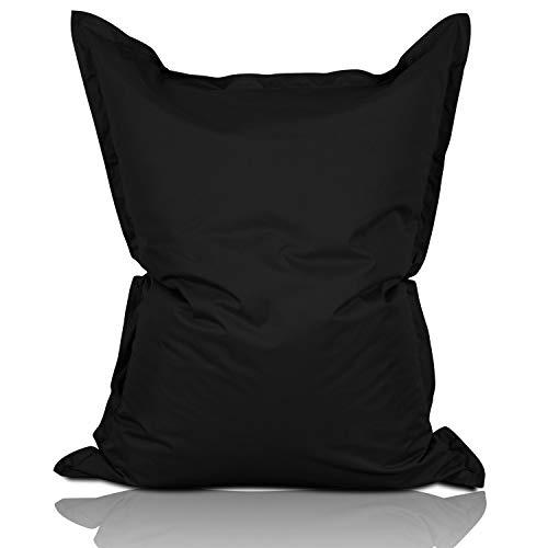 Lumaland Sitzsack 380L / 140 x 180 cm für Indoor & Outdoor | Riesensitzsack Sitzkissen Sessel Gamer Stuhl Bean Bag für Kinder & Erwachsene - Schwarz -