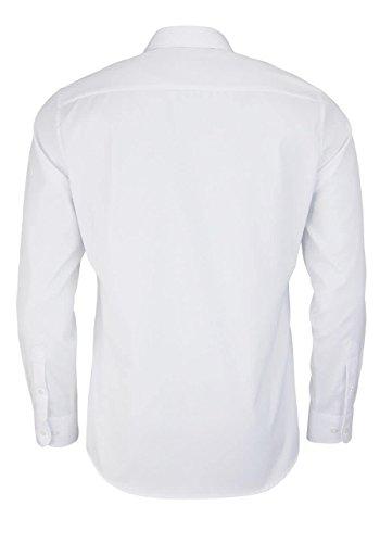 eterna Langarm Hemd Slim Fit Twill Unifarben Weiß